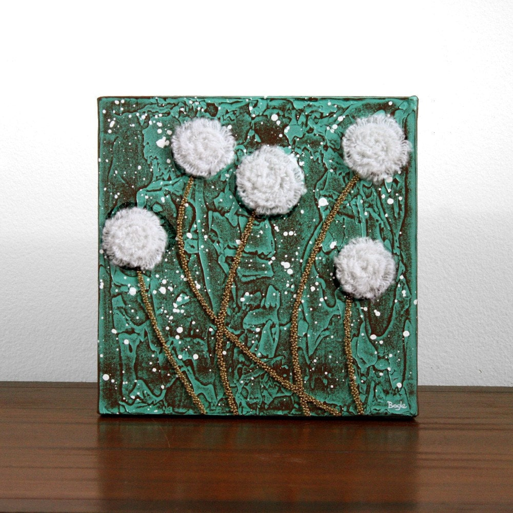 Сельский картина Цветок - текстурированные Акрил, Холст Art - МАЛАЯ 10X10 - зеленый, коричневый, белый декор