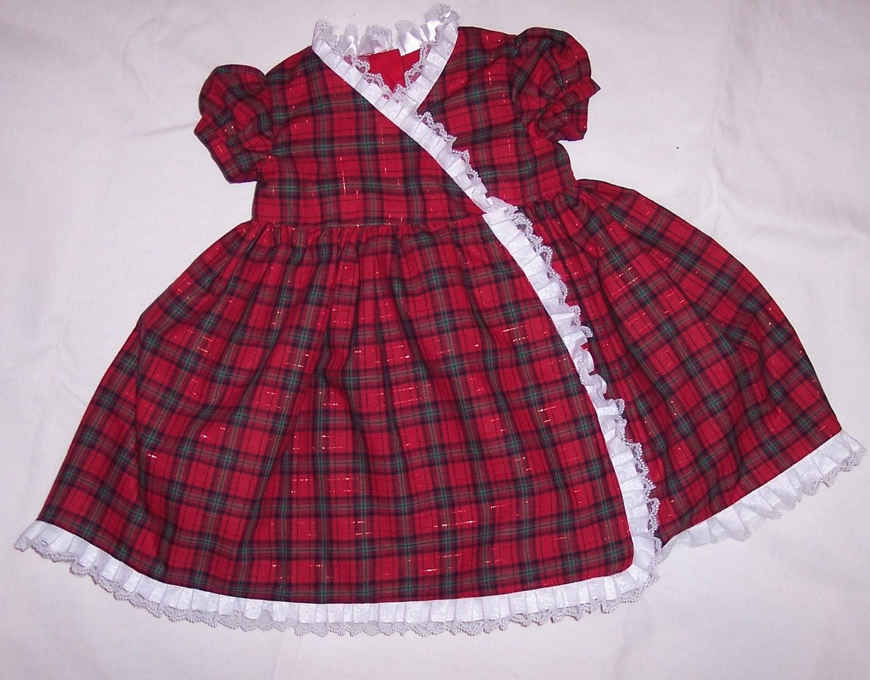 لباس قرمز شطرنجی اندازه 1 سال.