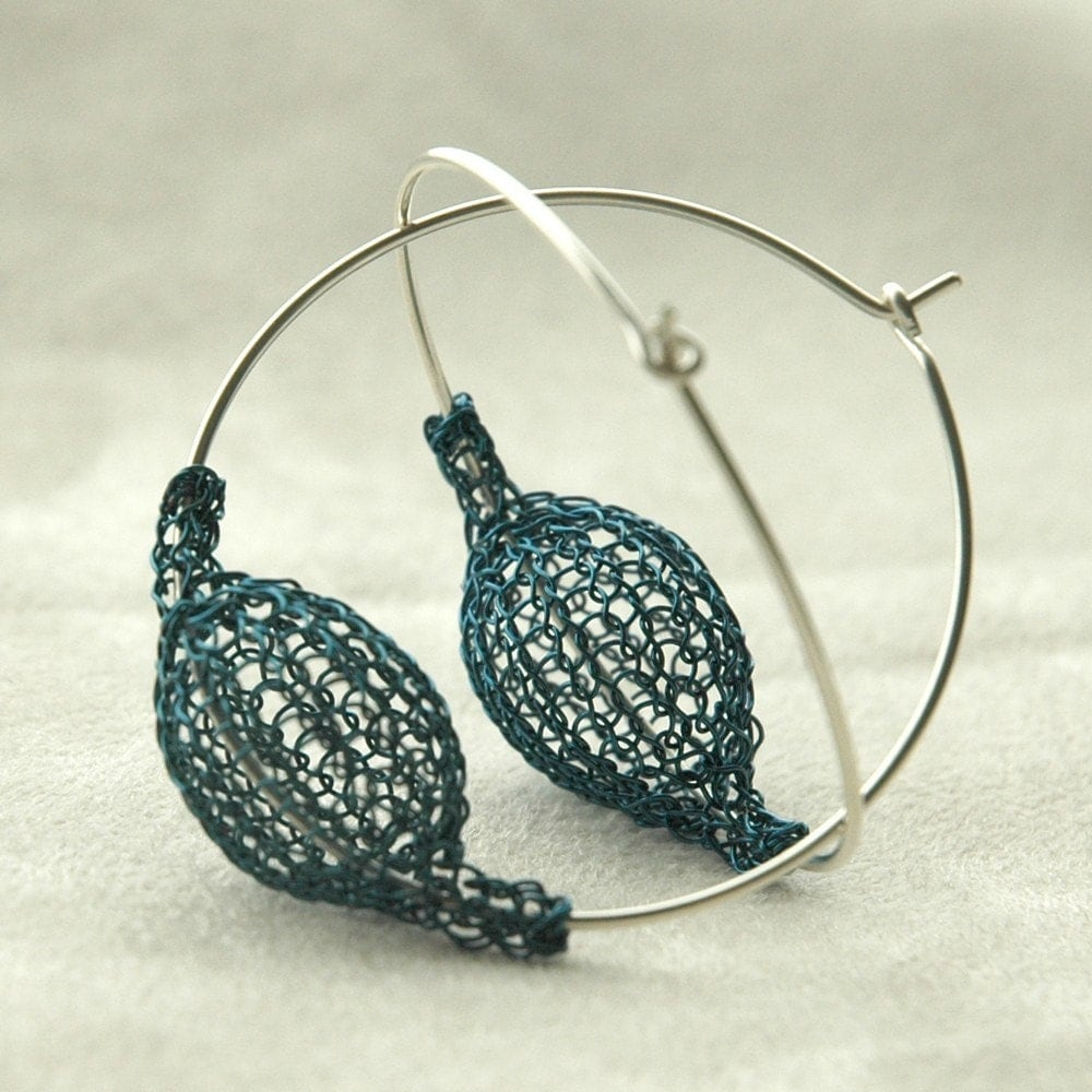 Blue large hoop earrings - Pod on a hoop - volume fashion - Yoola