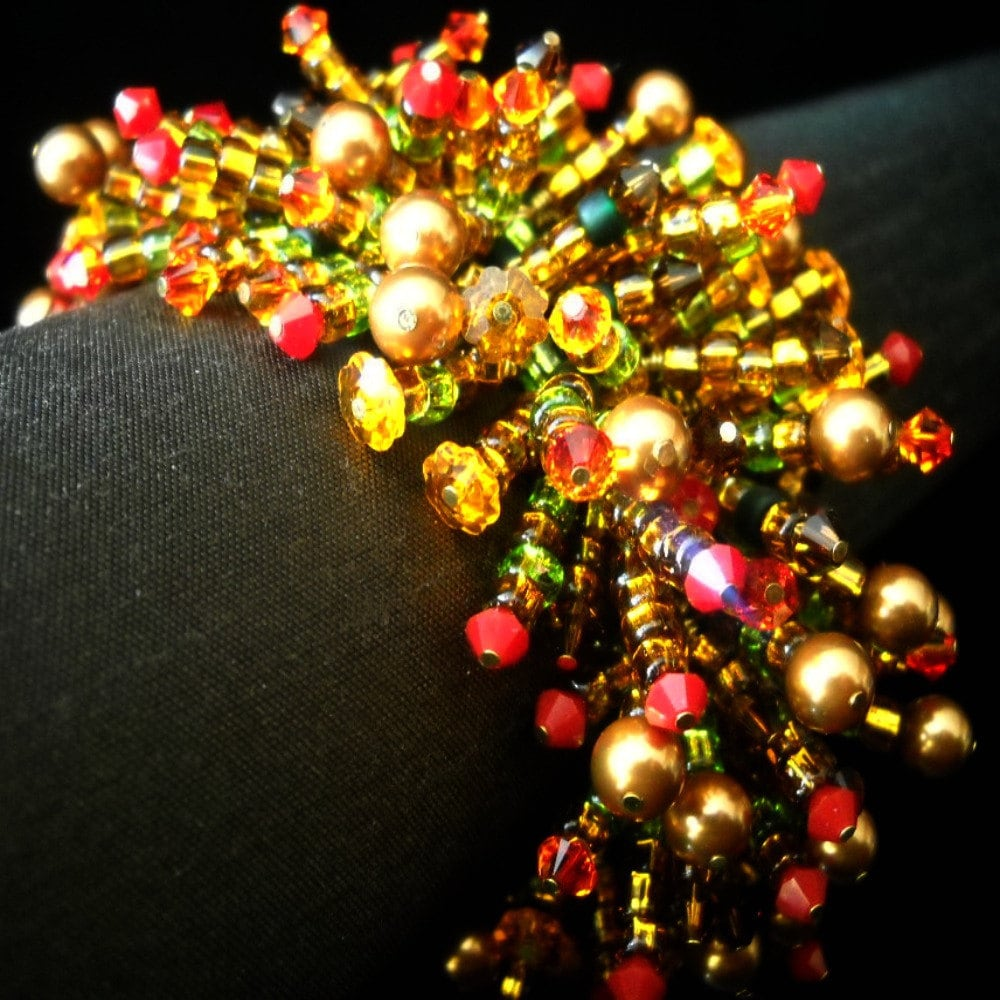 Autumn Caterpillar Bracelet and Ring - Swarovski Crystals -  (WJ)  - Handmade Jewelry