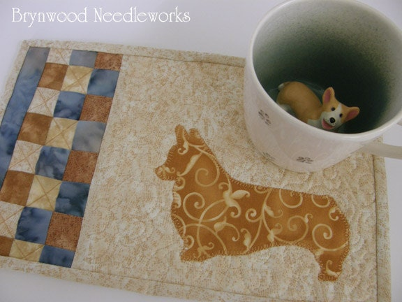 Mug Mat - Batik Fabric with Corgi Applique'