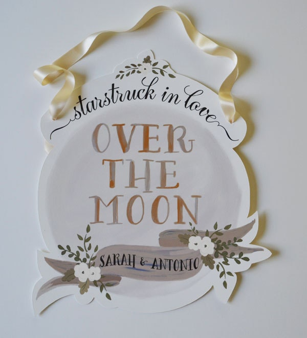 Over the Moon Wedding Sign-Custom Names-Ivory Cream - firstsnowfall