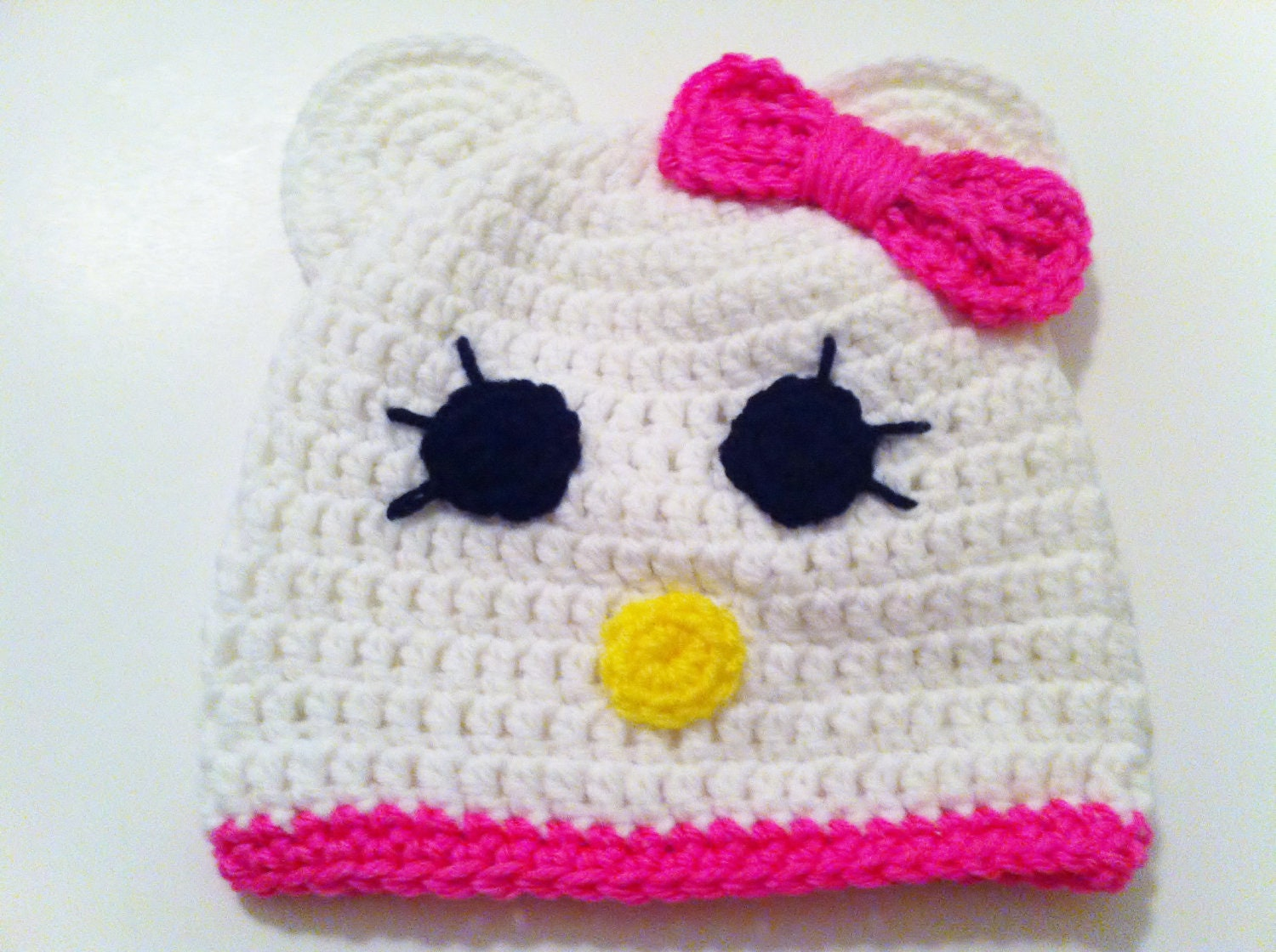 Crochet Kitty Hat, Baby Girl Beanie With Pink Bow, Kitty Cat Hat, Christmas, Ready to ship