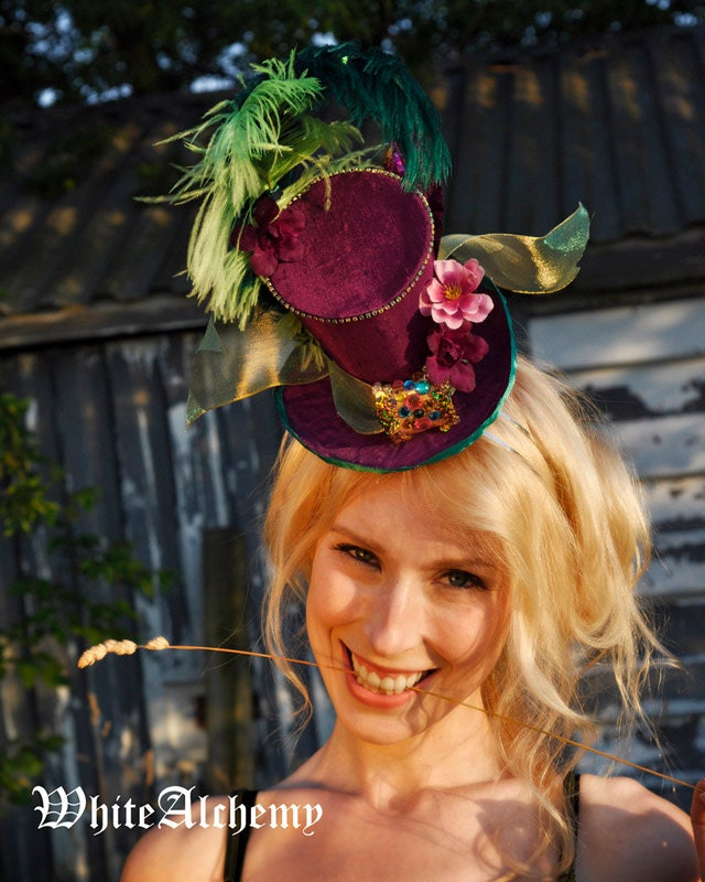Chic Steampunk / Edwardian-  Dark Magenta Circus Inspired-  Tiny Top Hat / Facinator