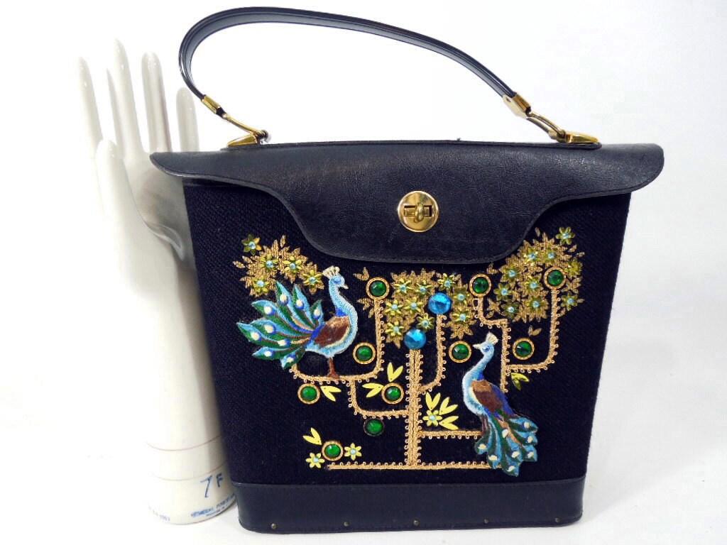 60s or 70s Peacock Tote Embellished Handbag - BeeDeeVintage