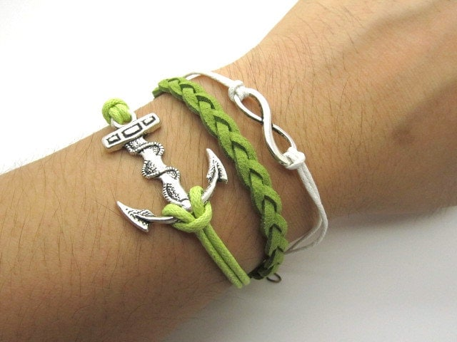 Silver bracelet  Anchor bracelet made of green weave leather cord and  Anchors,Angel password LL591