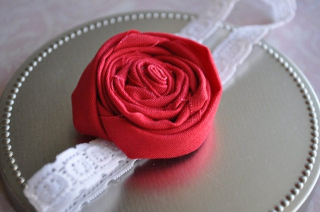 Scarlet. Red rosette lace headband