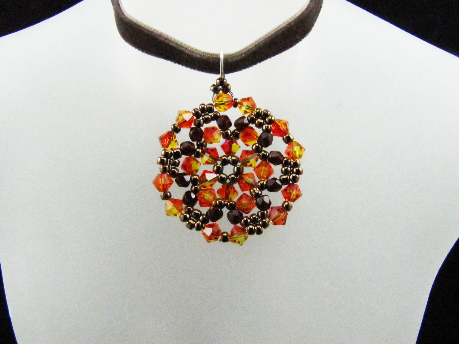 Fire Opal Swarovski Crystal Medallion Bead Woven Pendant Necklace