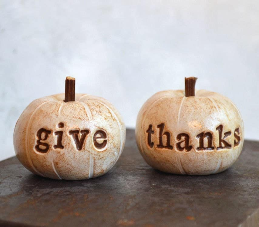 Thanksgiving ... give thanks ... handmade polymer clay pumpkins ... Word Pumpkins - SkyeArt