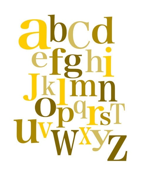 Kid's alphabet print - yellow and brown - digital print - 8x10 on A4 - curryonthecouch