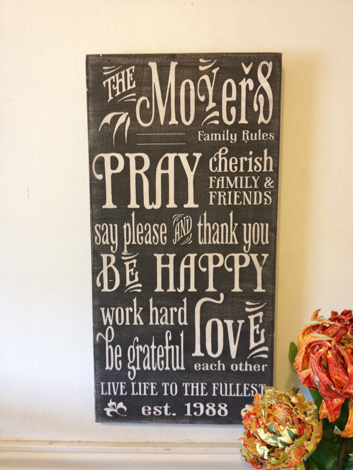 Words To Live By Signs wood family rules by kspeddler on Etsy