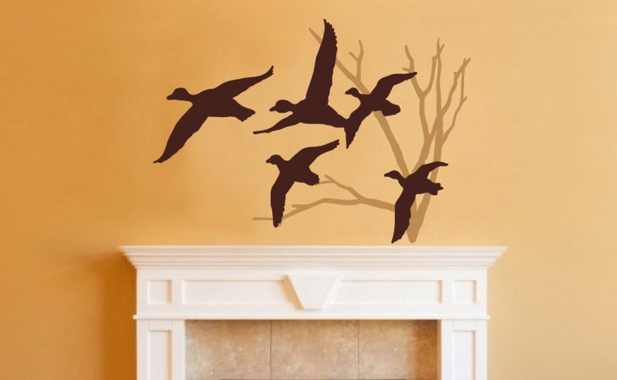 Wall Decal Ducks in Flight and Bare Tree Two Color Choice Vinyl Wall Decal 22218 - CuttinUpCustomDieCut