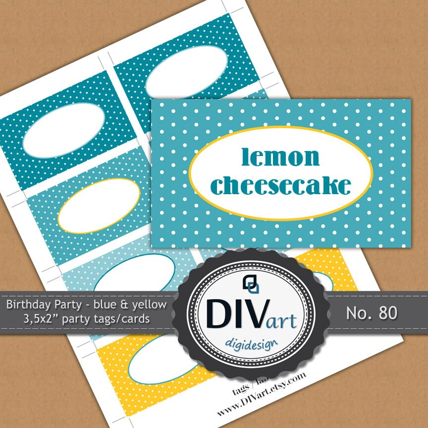 "PRINTABLE Birthday Party - 3,5x2"" Party Tags, Gift Tags, Food Labels, Place Cards - polkadots, blue & yellow - No. 80"