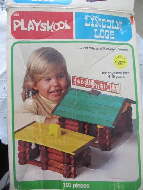 Vintage Milton Bradley Lincoln Logs, 1978, Childrens Toys, Blocks - GoldenDreamFinds