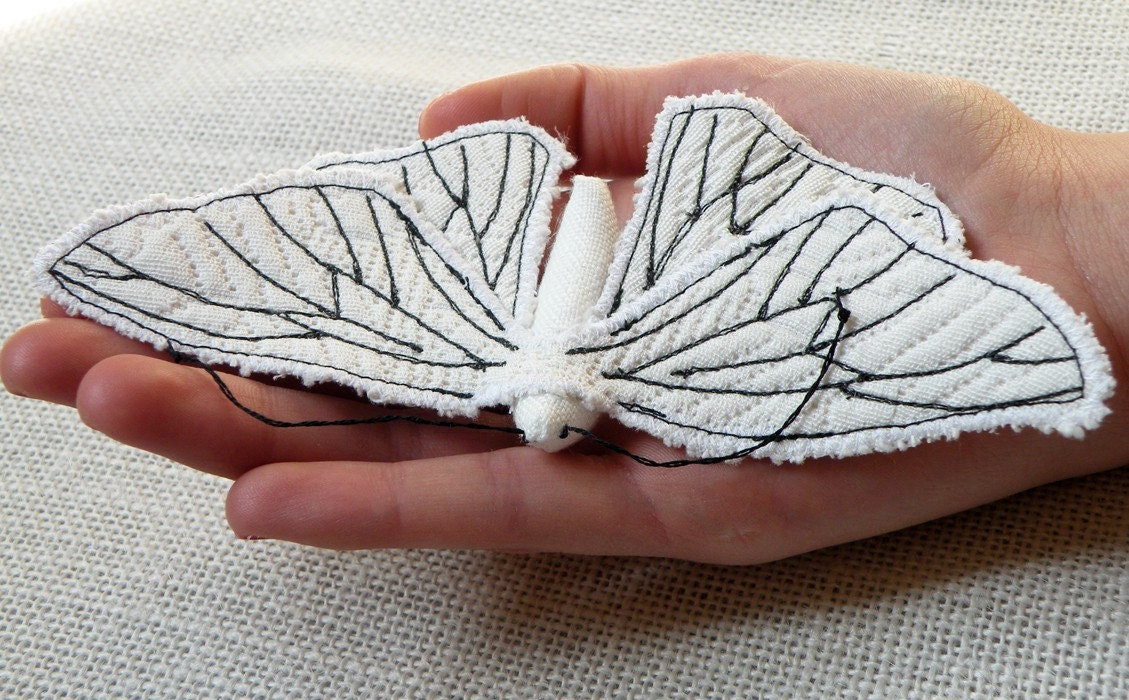 Handmade Fabric Moth Brooch - Textile Lepidoptera - Made to Order