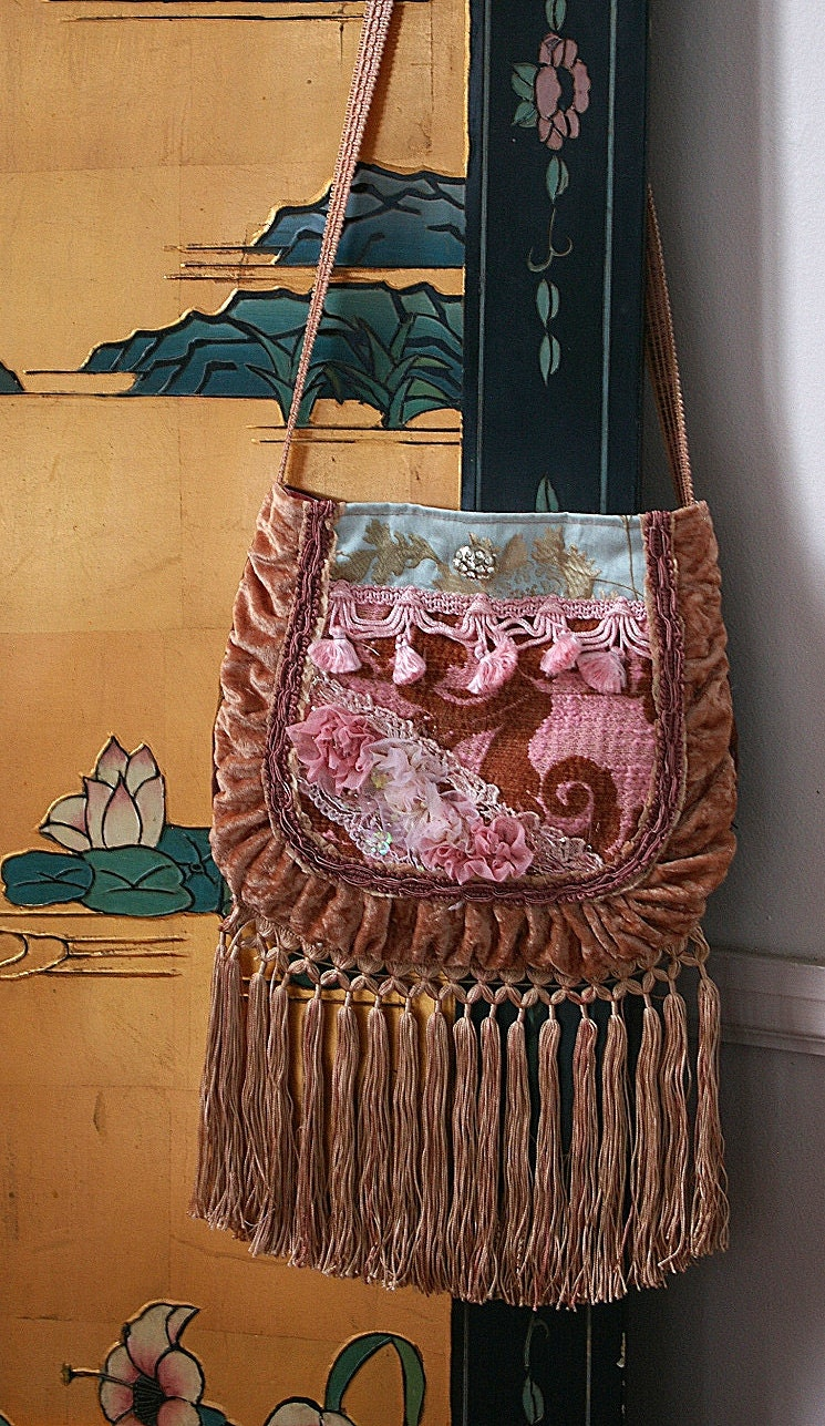 Girls night out bag with fringe pinks and blues - Justbepurses