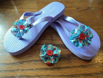 Flip Flops with Ribbon Flowers and a Matching Hair Bow