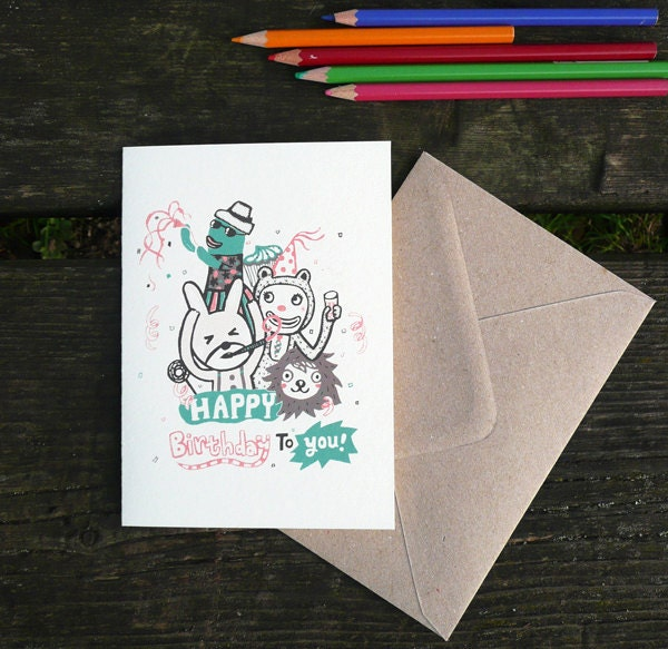 Happy birthday Party animal- hand printed birthday card