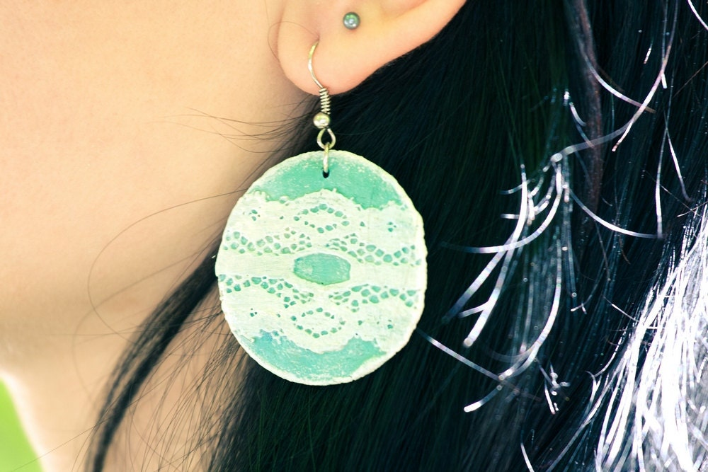 Teal Earrings, Turquoise Lace Earrings, Circle Earrings, Summer, blue, marine, mint