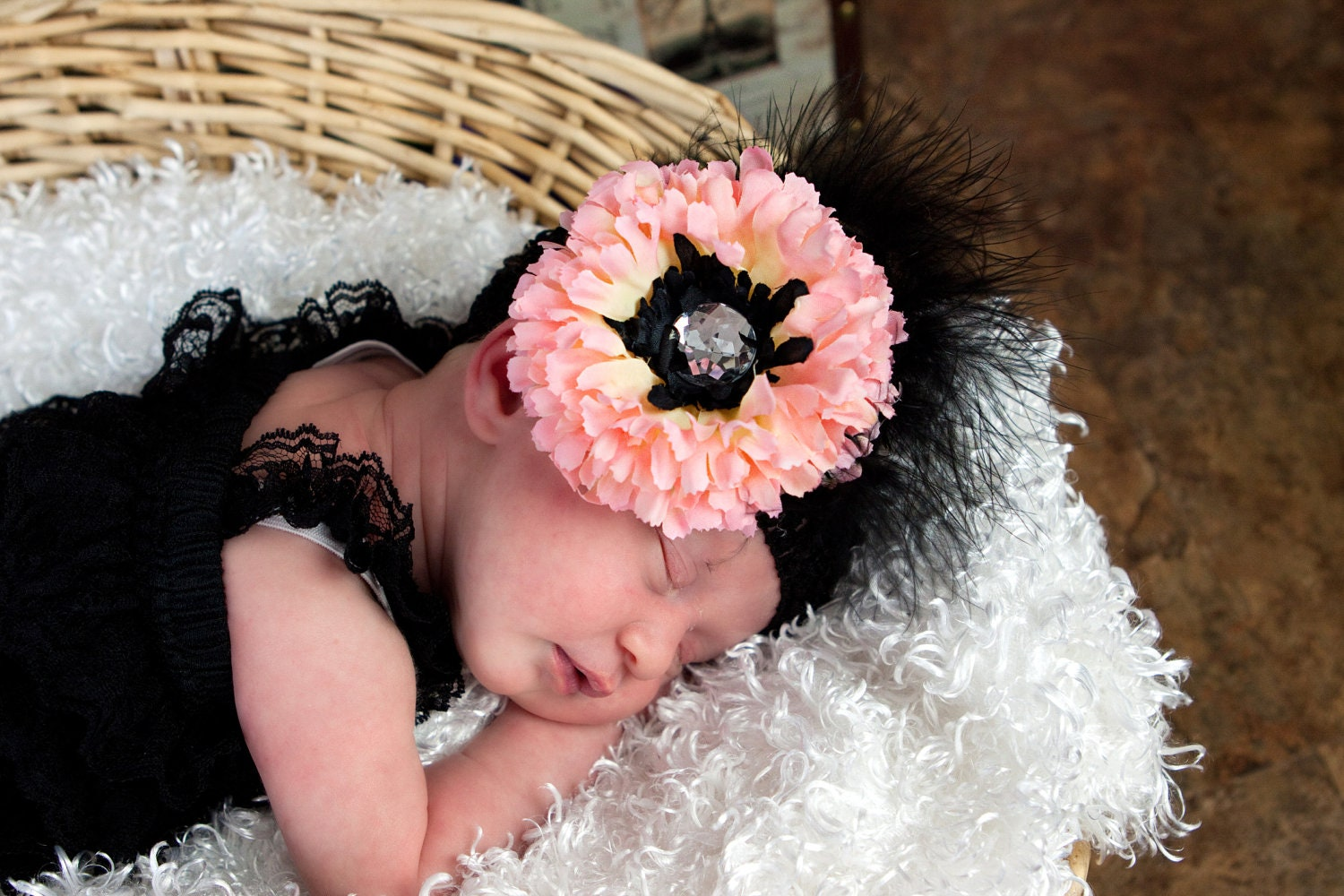 Custom black & pink gerber flower clip accented with chincilla pheasant feathers