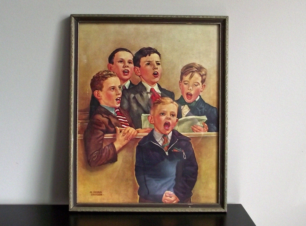 Nostalgic Singing Church Choir Boys Vintage Mid Century Art Print and Original Frame, done by H.Dennis Simpson. - seasonofbeing