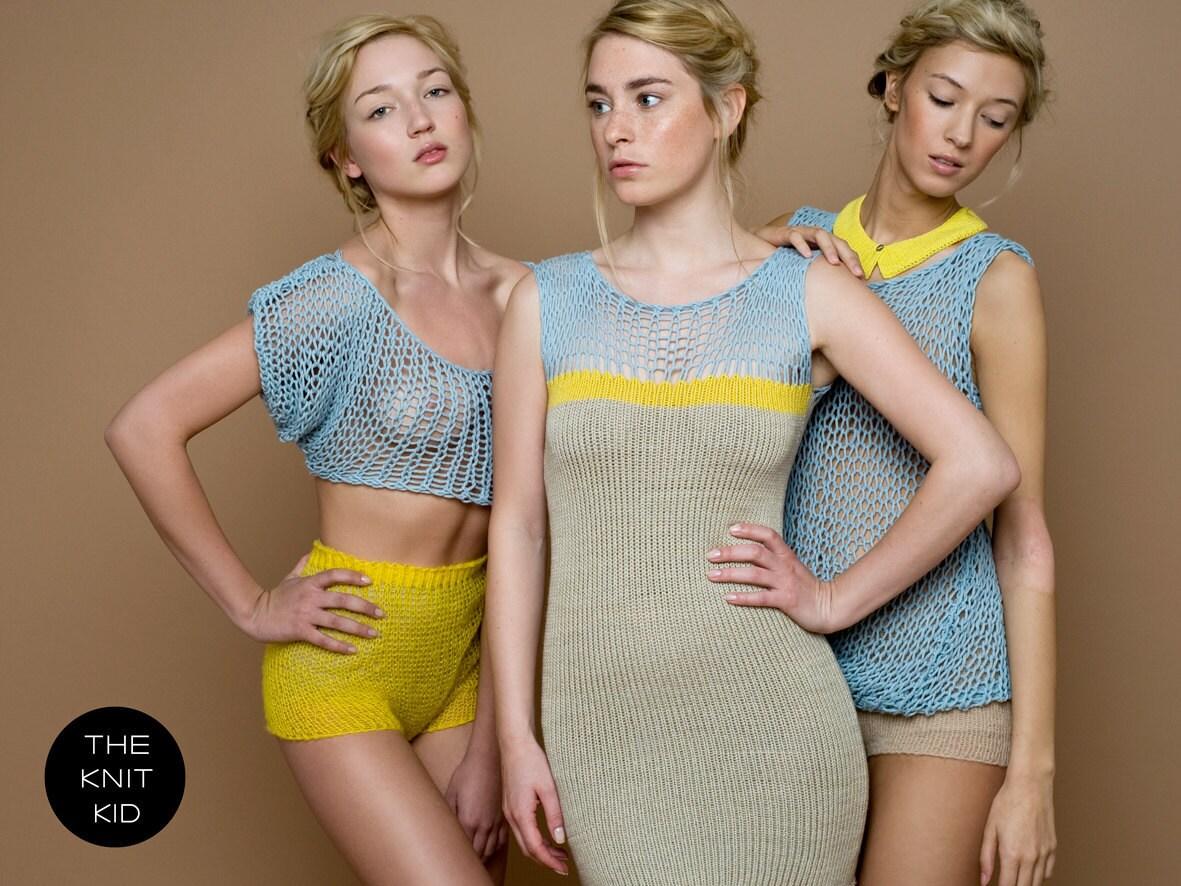 knit dress sand yellow light blue theknitkid cashmere cotton