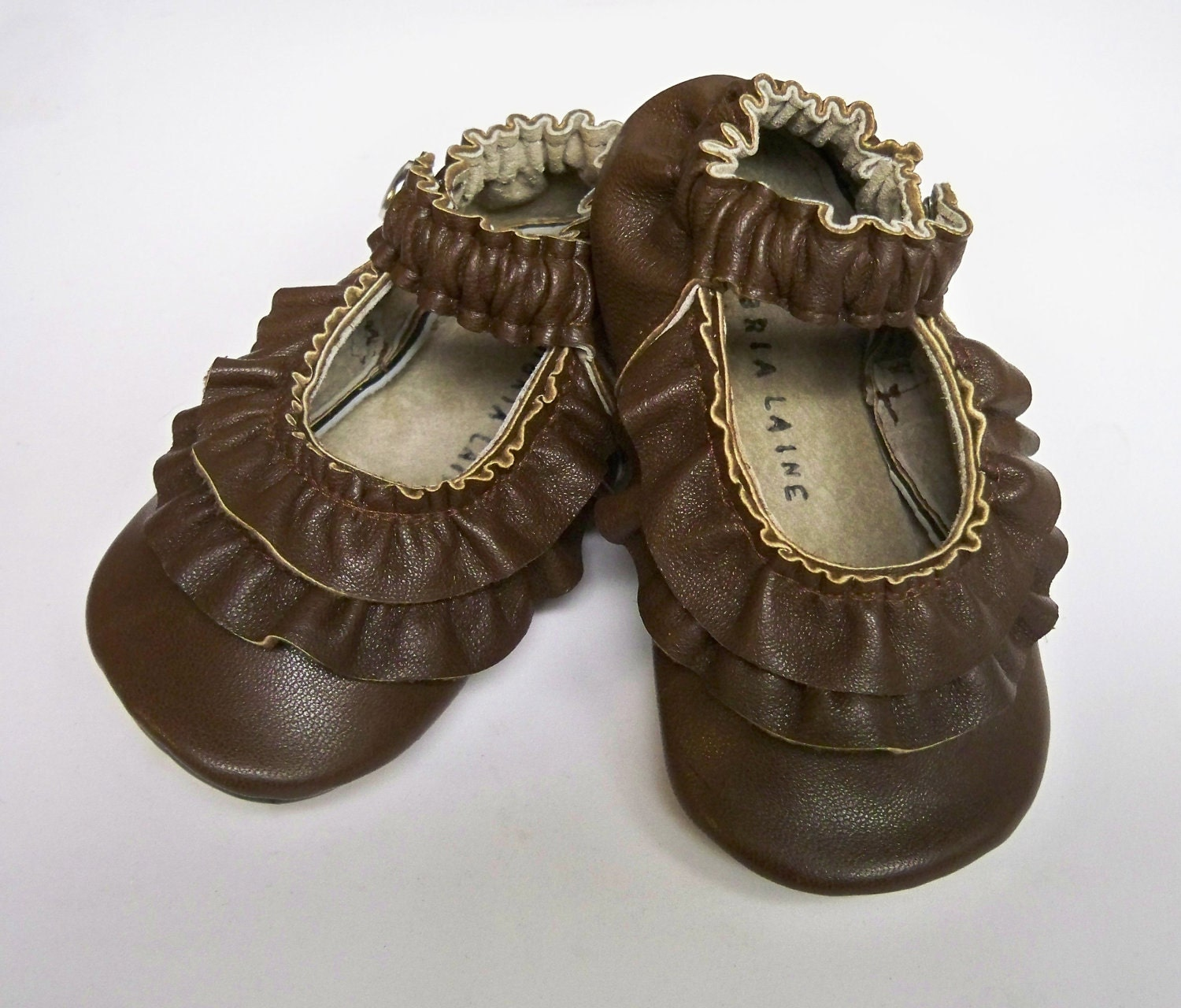 Brown Leather Double Ruffle Mary Jane soft sole shoes - Custom sewn - 0 3 6 12 18 24 months