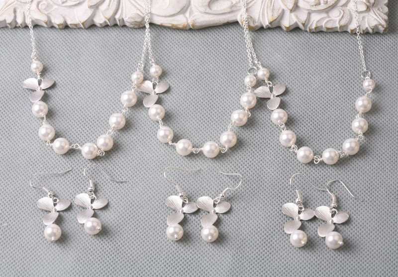 3 sets Wedding Jewelry, Orchid sterling Silver necklace,Pearls strand,flower girl, Bridesmaid gift, Bridal jewelry