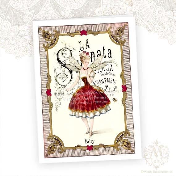 Christmas Card, The Sugar Plum Fairy, Ballerina, Nutcracker, Vintage, Original Artwork - mulberrymuse