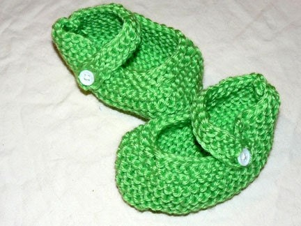 Cute Green Mary Jane Baby Booties - FREE SHIPPING