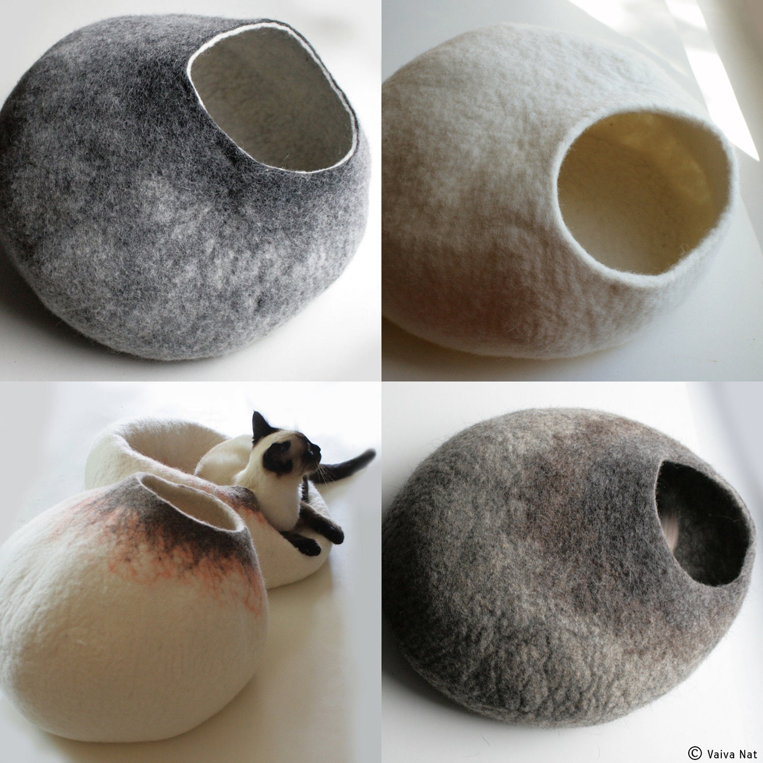 Custom felted Cat Bed - Hand Felted Wool Cat Bed / Vessel - Crisp Contemporary Design - vaivanat