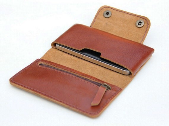 Leather  iPhone wallet case in Tan Brown -  with zipper and card slot - BluePetalz