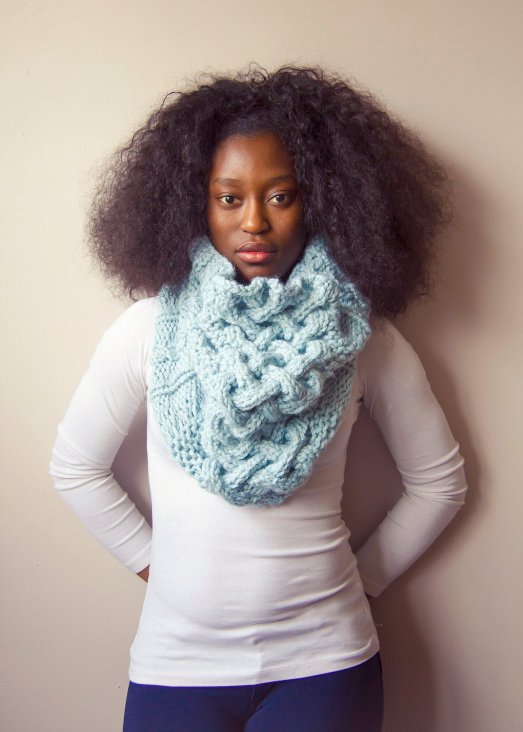 Oversized Cowl, Baby Blue Scarf, Cable Knit Cowl, Chunky Cowl, Hand Knit Infinity Scarf, Light Blue Infinity Scarf, Blue Shawl, - EmbraceTheLamb