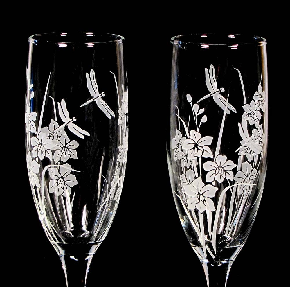 Custom Designed for You Wedding Champagne Flutes Personalized Engraved