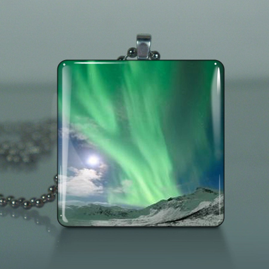 The Northern Lights - J70  /Large Glass Tile Pendant / Buy 2 Get 3rd Free / Includes Chain and Free Shipping