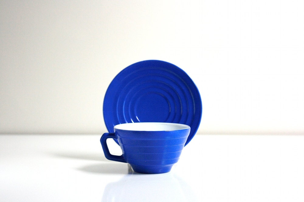 Vintage Electric Blue Teacup and Saucer - WiseApple