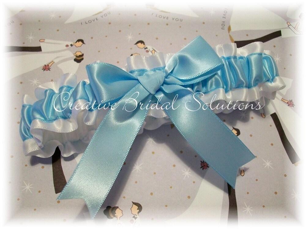 White with Light Blue Satin Bridal Garter