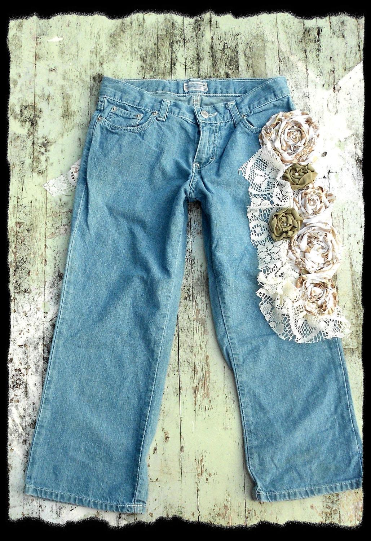 Чешский джинсы Украшенные Chic французского Inspired одежда Женская экологию Lowrise женские Коттедж Потертый Chic Vintage Fade Капри