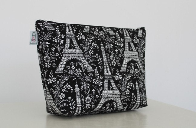 Makeup Pouch with Removable Vinyl Liner - Black and White Eiffel Tower