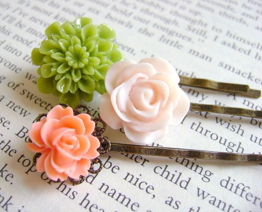 Floral Bobby Pins- Secret Garden