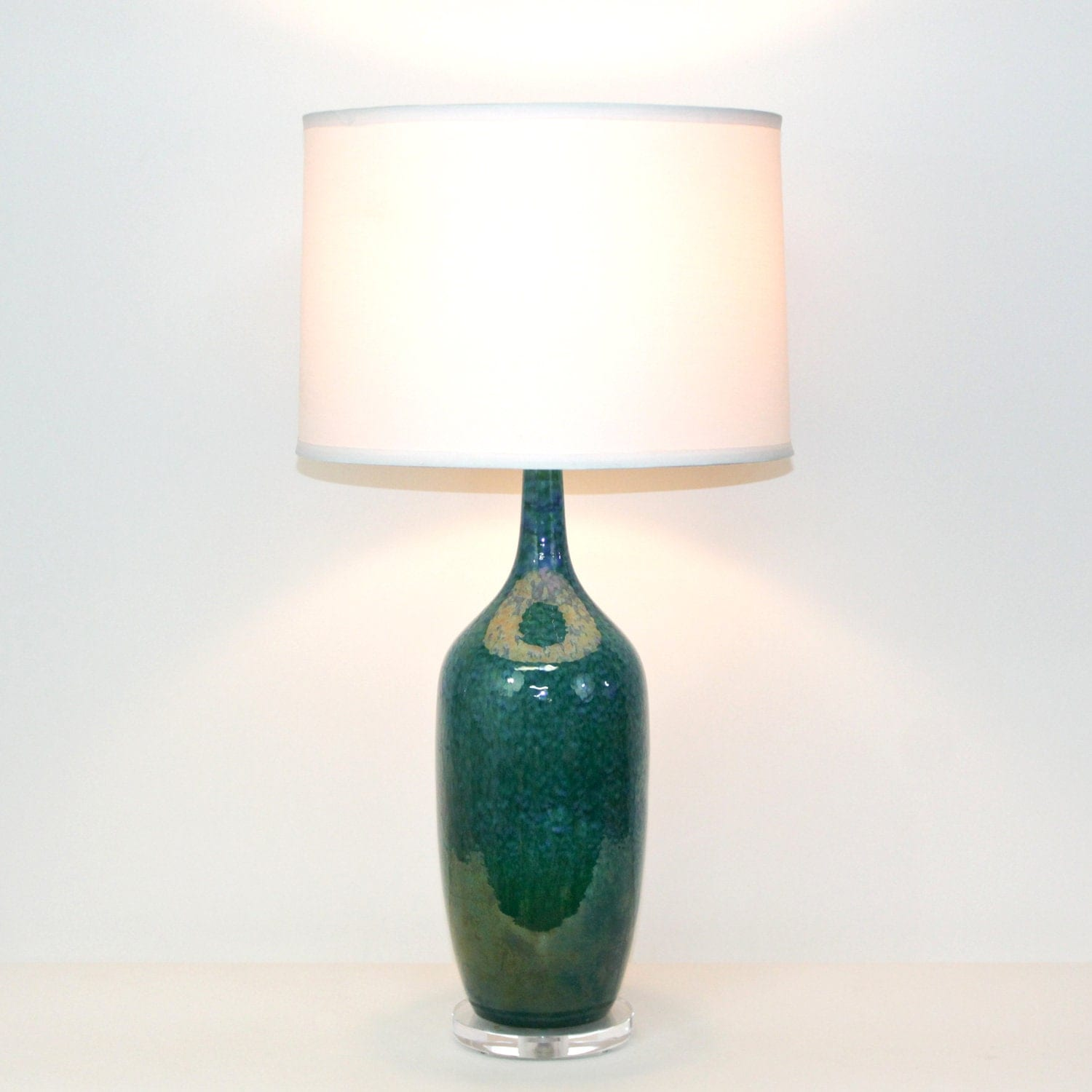Mid-Century Modern Pottery Lamp by Royal Haeger . Teal Green and Blue with Lucite Base