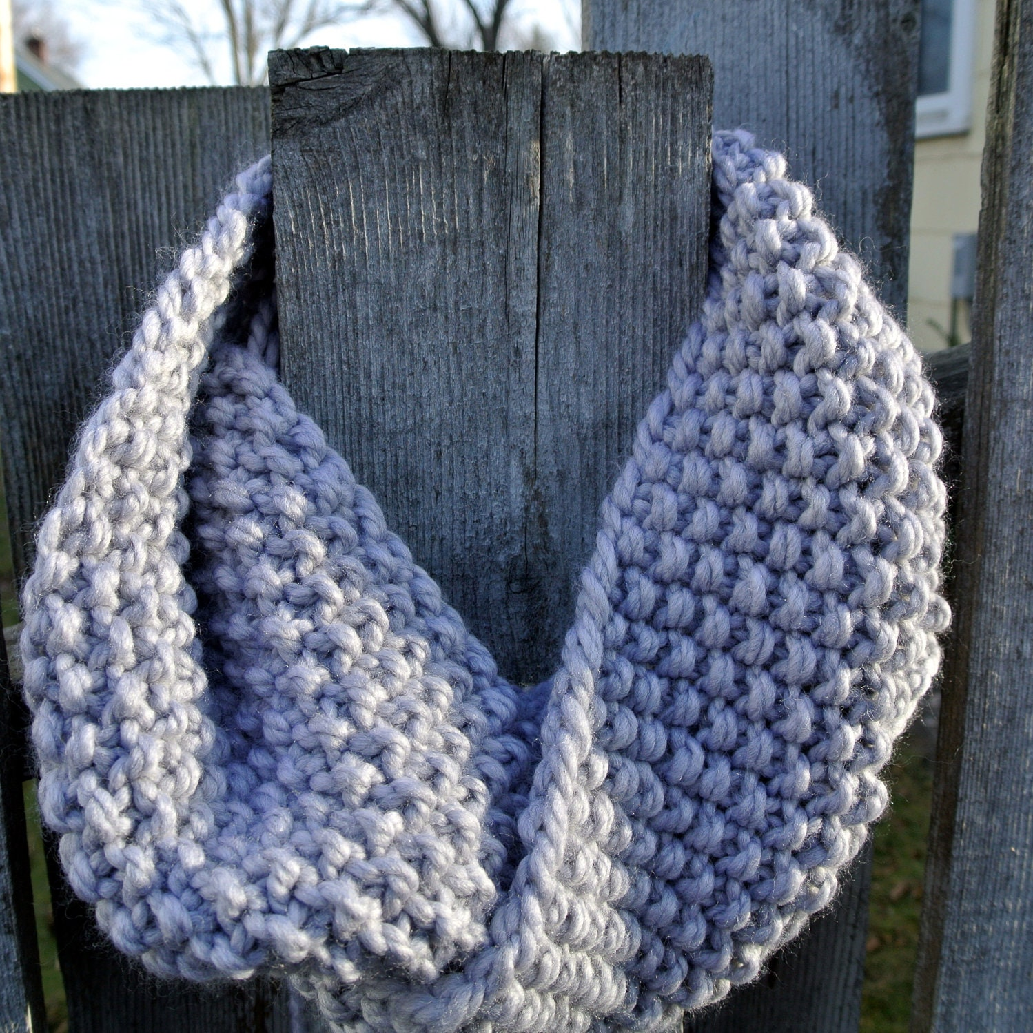 SALE Black Friday/Cyber Monday- Hand Knit Infinity Cowl in Pewter Gray  - Extra Long, Double Wrap - KnitMomWi