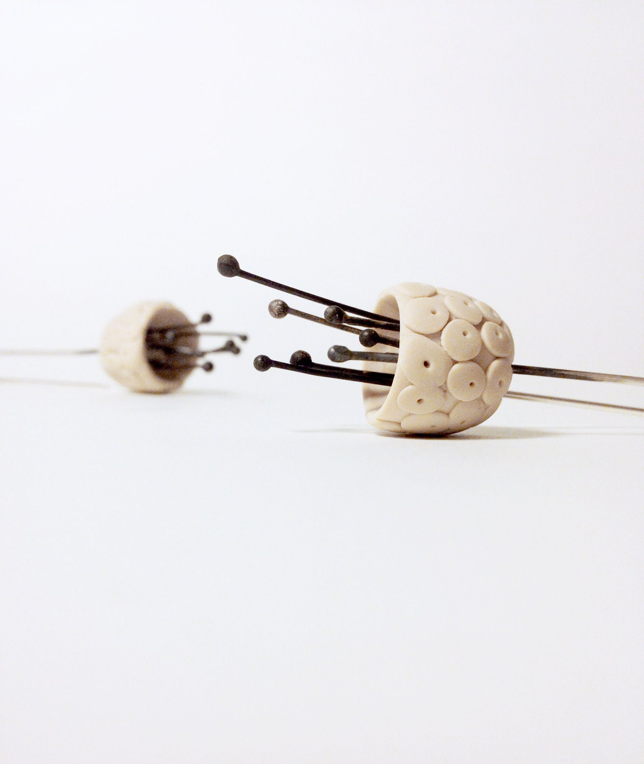 minimalistic hand sculped dotted bell flower polymer clay earrings in off white colour, made to order - eried
