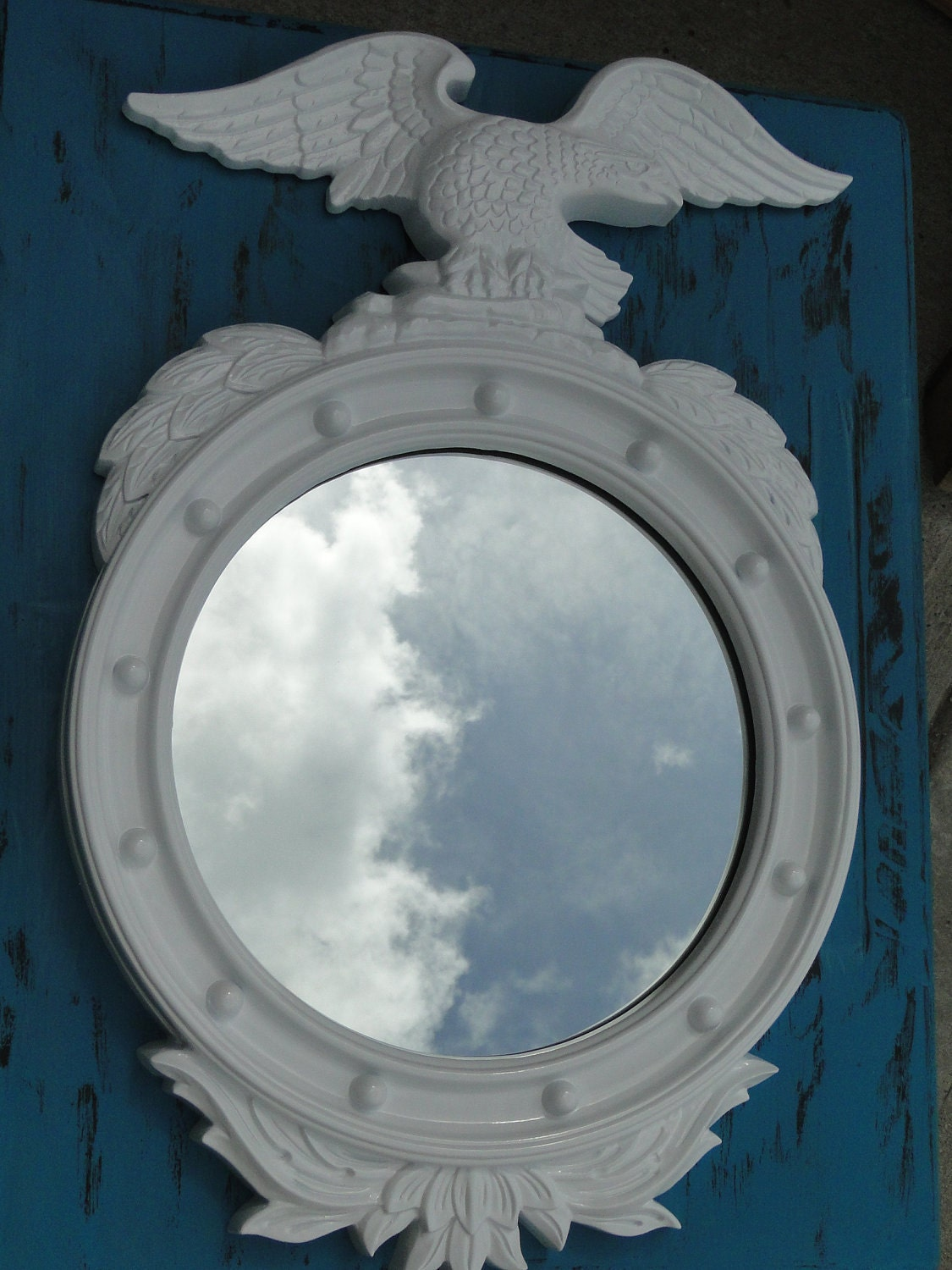 Large Vintage Ornate Round Nautical Mirror with Eagle in Pure Glossy White