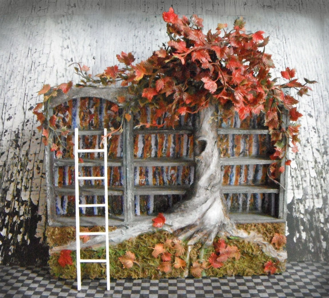 Miniature Fall Blossoms Bookshelf - LDelaney