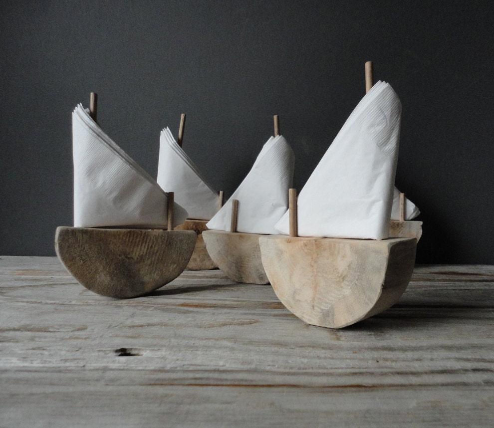 Driftwood Sailboat Napkin Holder.  Wedding Place Settings - OceanSwept