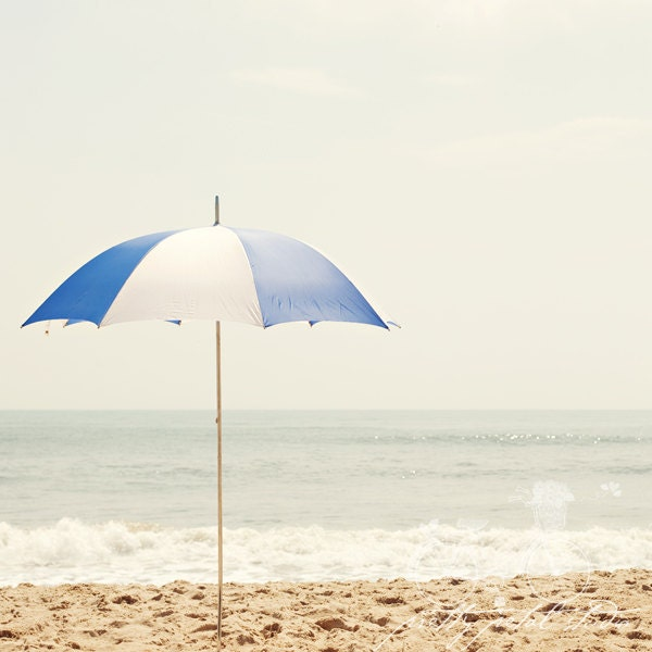 Fine Art Photograph, Blue and White Beach Umbrella, Summertime, Virginia Beach, Ocean, Sand, Waves, Teal Tones, Square 12x12 Print - PrettyPetalStudio