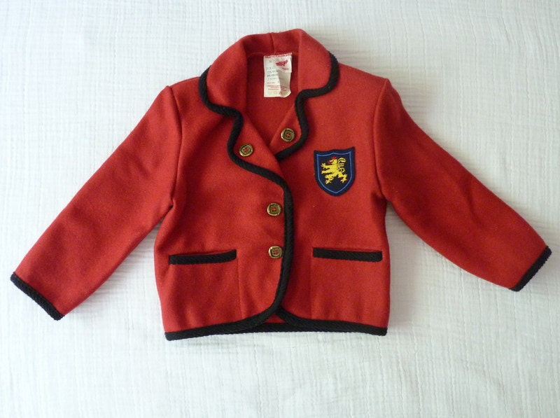 Vintage wool jacket, 4T. Back to school. Red wool with black trim, gold buttons and crest - LazerBabyVintage