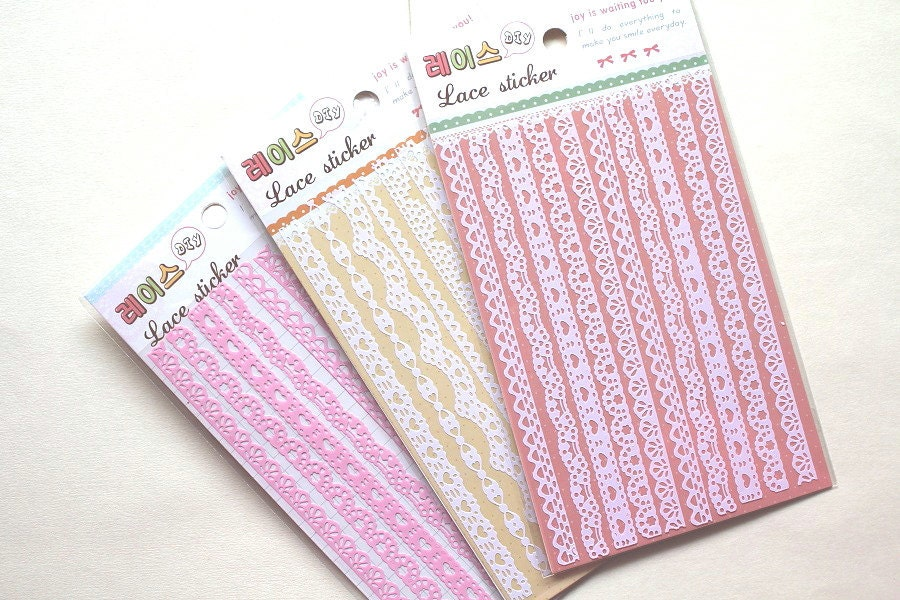 Paper lace sticker - scrapbook deco sticker, paper doilies - 1 sheet