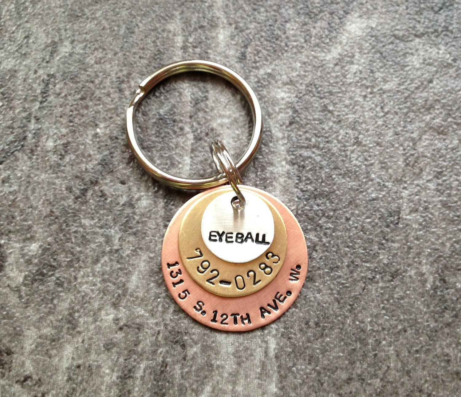 Pet ID Tag: Hand Stamped Personalized Pet ID Tag with Name, Phone, Address